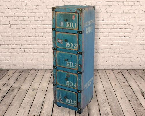 5 Drawer Numbered Distressed Side Cabinet